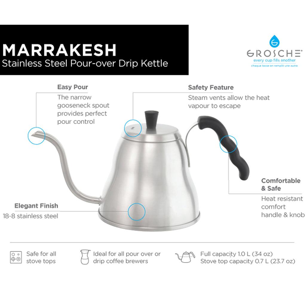 MARRAKESH Gooseneck Pour Over Kettle - 1000ml/34 fl. oz - Package of 2