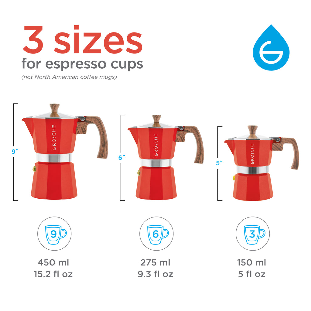 MILANO Stovetop Espresso Maker  - Red, avail. in 3 sizes, pack of 4