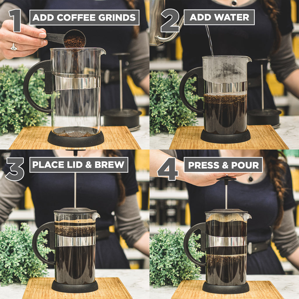 French Press: GROSCHE Zurich - Black, 1000ml/34 fl. oz/8 cup - Package of 4