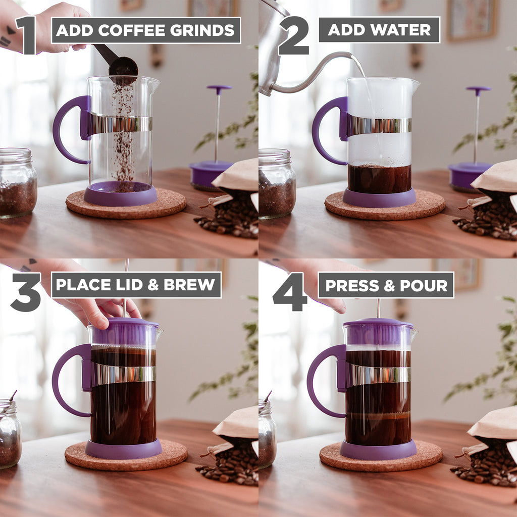 French Press: GROSCHE Zurich - Purple, 350ml/11.8 fl. oz/3 cup - Package of 4