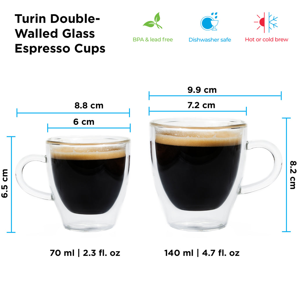 Glassware: GROSCHE Double Walled Espresso Turin Cup - 2 x 70ml/2.4 fl. oz - Package of 4