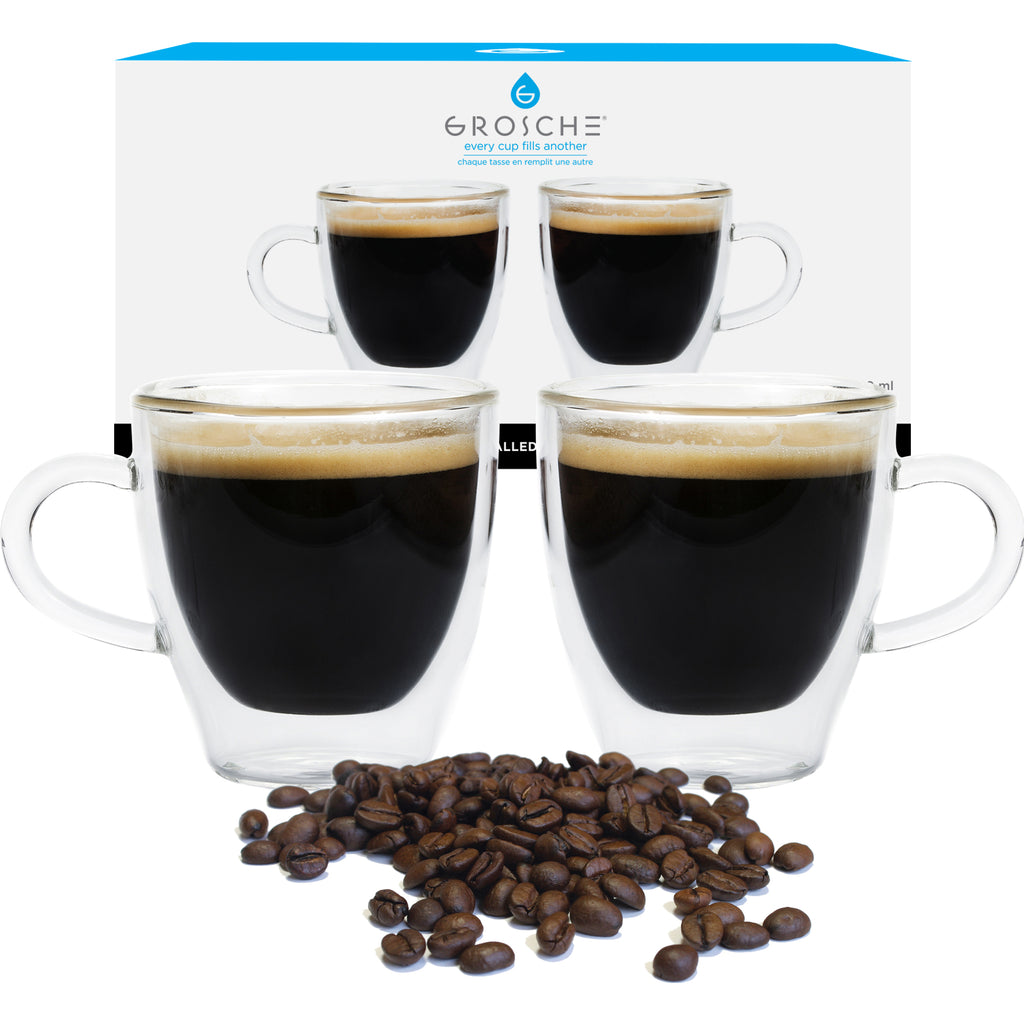 Glassware: GROSCHE Double Walled Espresso Turin Cup - 2 x 140ml/4.7 fl. oz - Package of 4