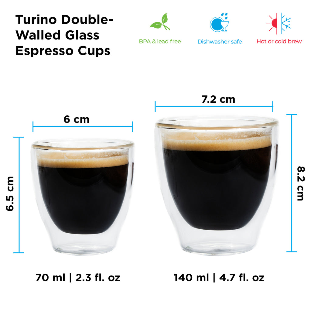 Glassware: GROSCHE Double Walled Espresso Turino Cup, 2 x 70ml/2.4 fl. oz - Package of 4