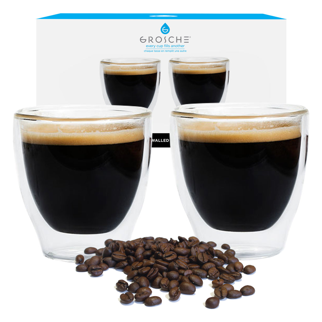 Glassware: GROSCHE Double Walled Espresso Turino Cup, 2 x 140ml/4.7 fl. oz - Package of 4
