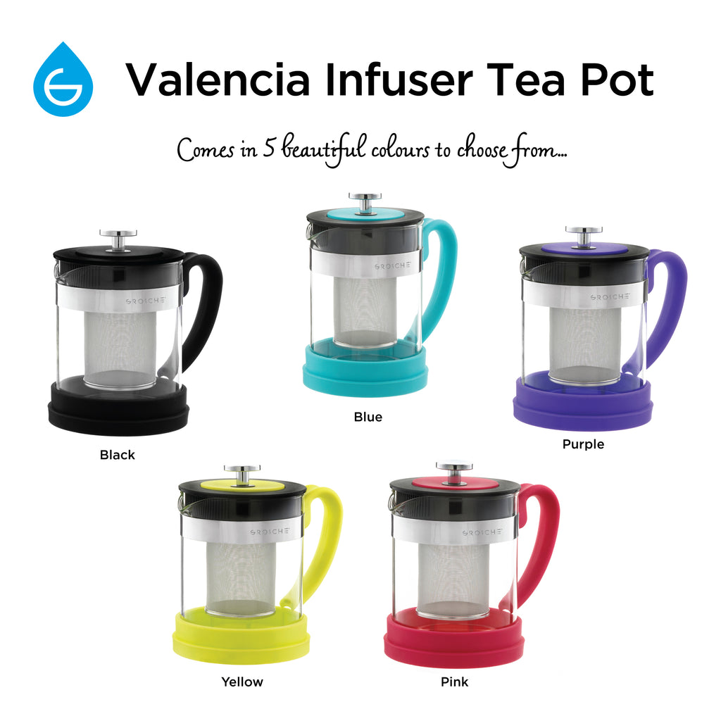 Infuser Teapot: GROSCHE Valencia - Blue, 600ml/20 fl. oz - Package of 2