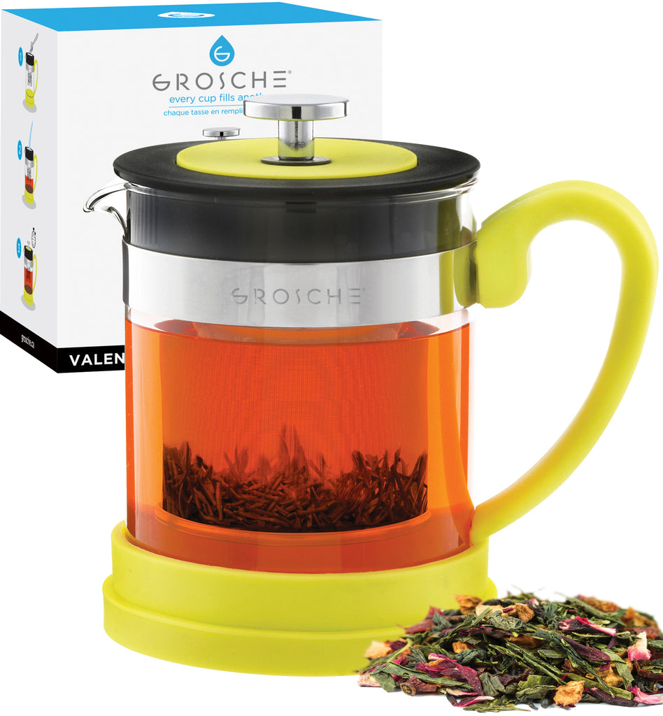 Infuser Teapot: GROSCHE Valencia - Yellow, 600ml/20 fl. oz - Package of 2