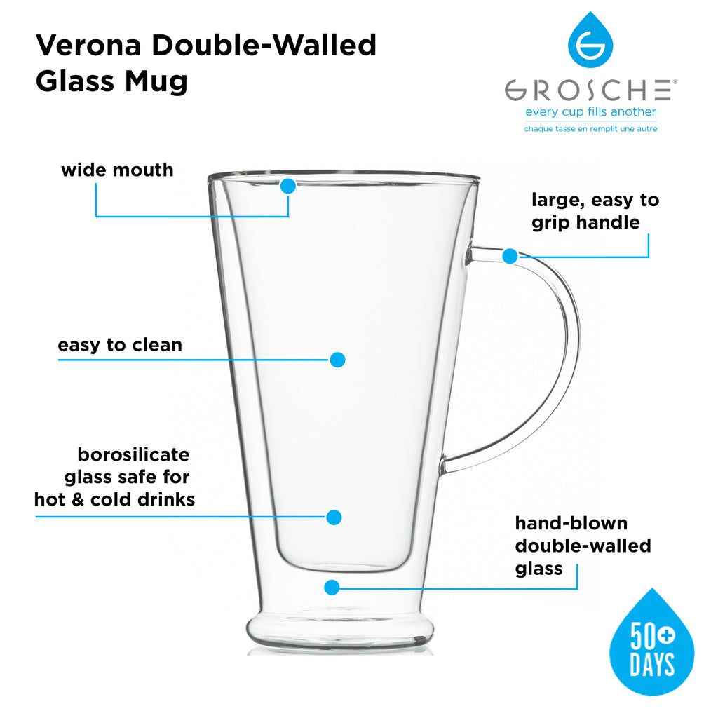 Glassware: GROSCHE Double Walled Verona Mug - 500ml/16 fl. oz - Package of 4