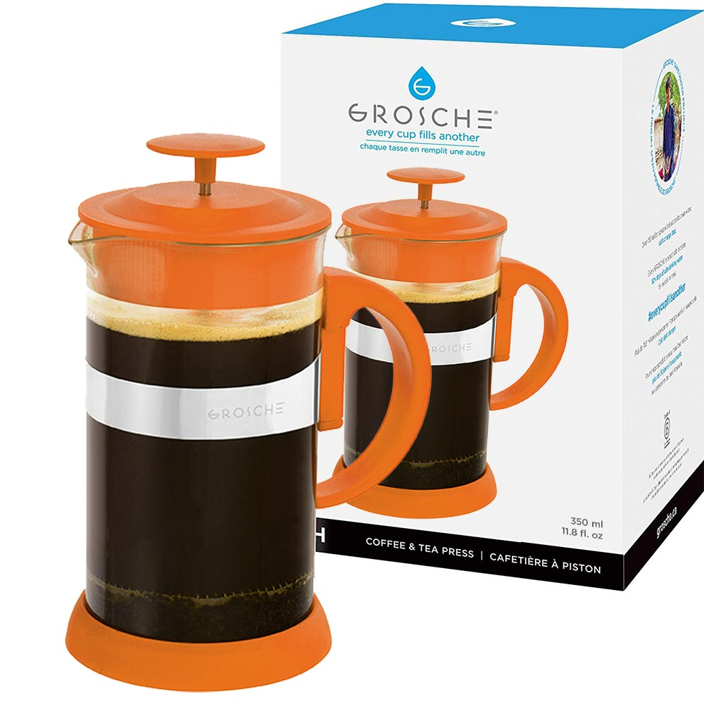 French Press: GROSCHE Zurich - Orange, 350ml/11.8 fl. oz/3 cup - Package of 4