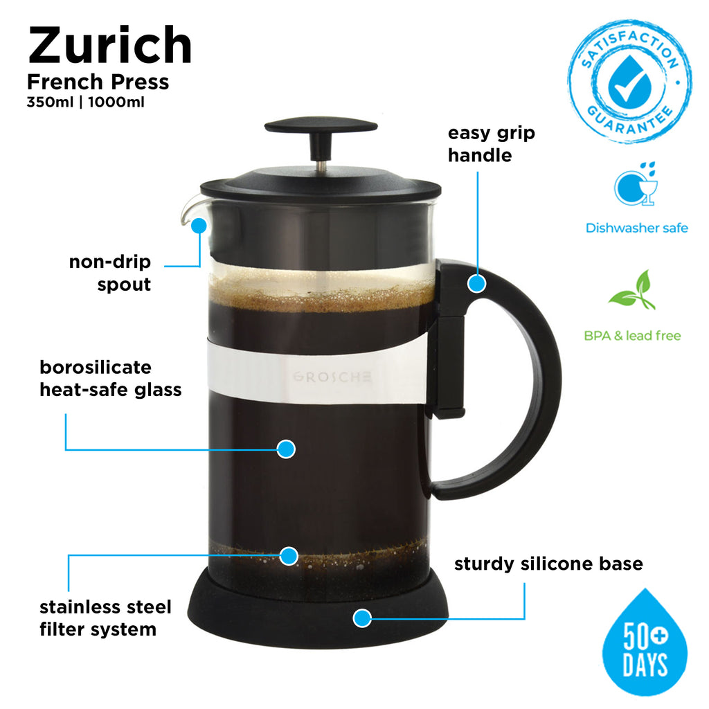 French Press: GROSCHE Zurich - Black, 350ml/11.8 fl. oz/3 cup - Package of 4