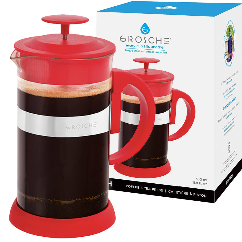 French Press: GROSCHE Zurich - Red, 350ml/11.8 fl. oz/3 cup - Package of 4