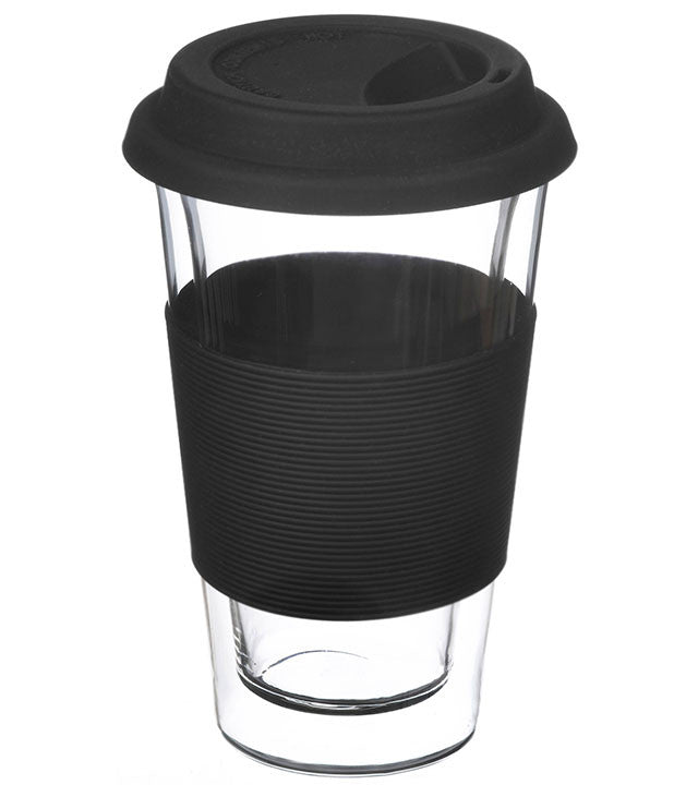 Glassware: GROSCHE Double Walled Glassen XL Travel Mug - Black, 425ml - Package of 4