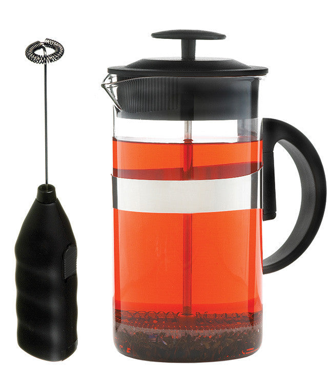 French Press Set: GROSCHE Cafe Au Lait - Black, 1000ml/34 fl. oz - Package of 4