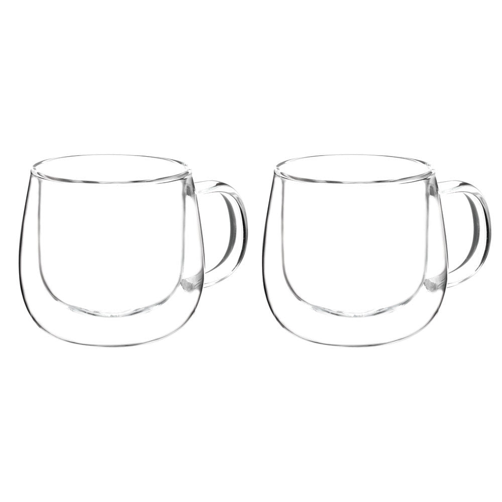 FRESNO Cups Dbl Walled (with handle) Glassware,  (2 x 270ml per pack), Package of 2