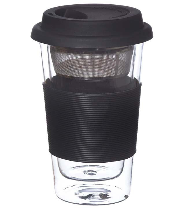 Glassware: GROSCHE Double Walled Glassen Travel Mug with Infuser - Black, 350ml - Package of 4