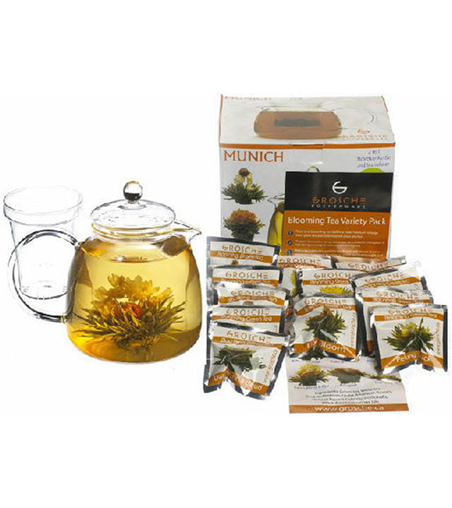 Gift Pack: Munich Teapot With Infuser & Blooming Tea 12 Pack, Package of 2