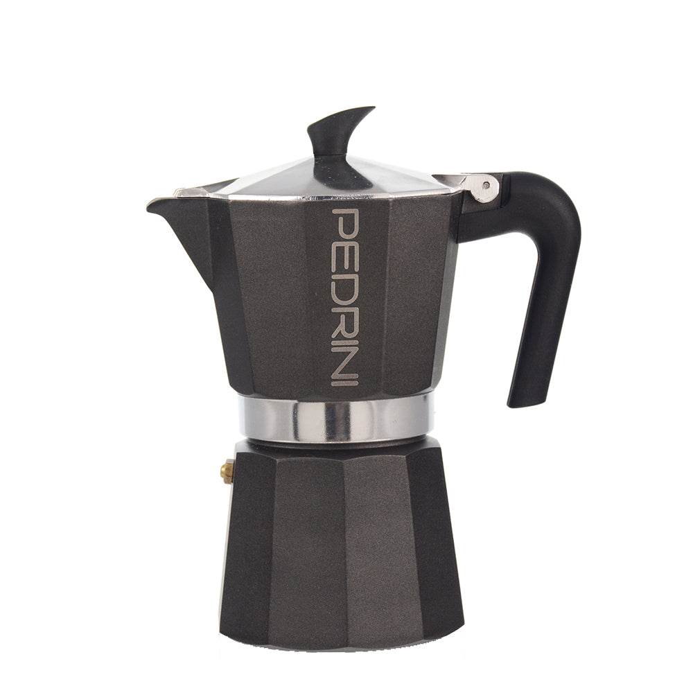 PEDRINI ITALY Stovetop Espresso Maker- black, avail. in 4 sizes, pack of 4