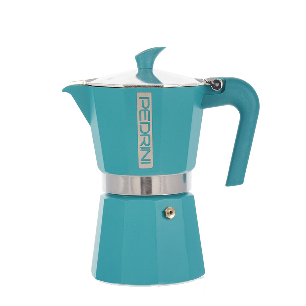 PEDRINI ITALY Stovetop Espresso Maker - blue, avail. in 4 sizes, pack of 4