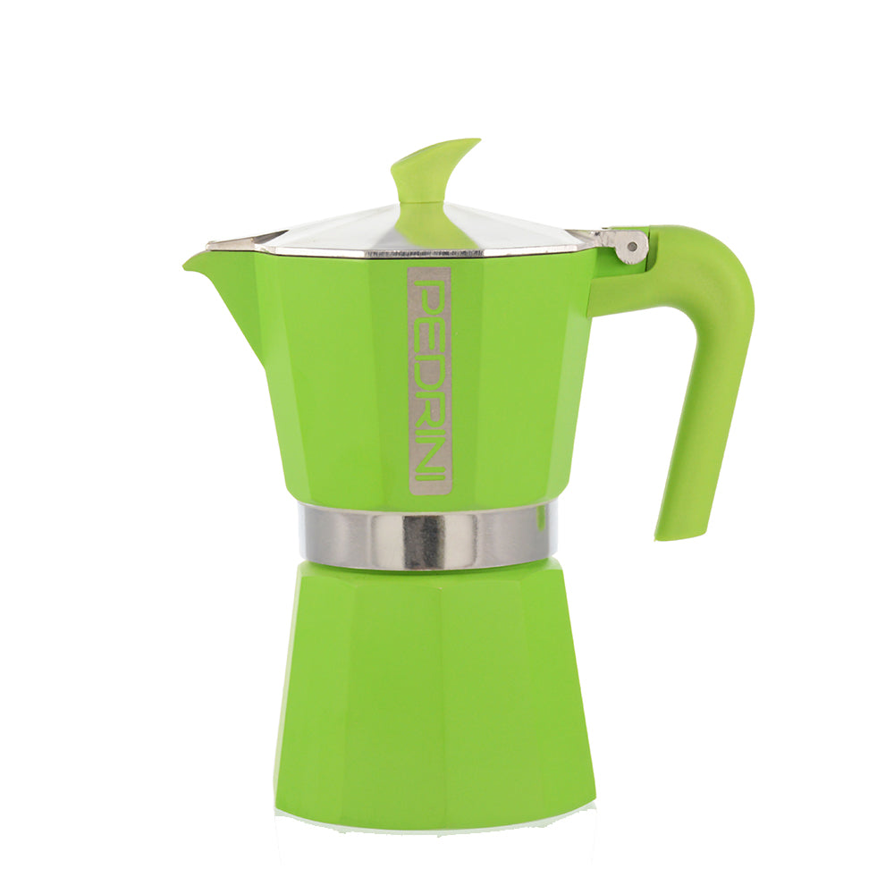 PEDRINI ITALY Stovetop Espresso Maker - green, avail. in 4 sizes, pack of 4