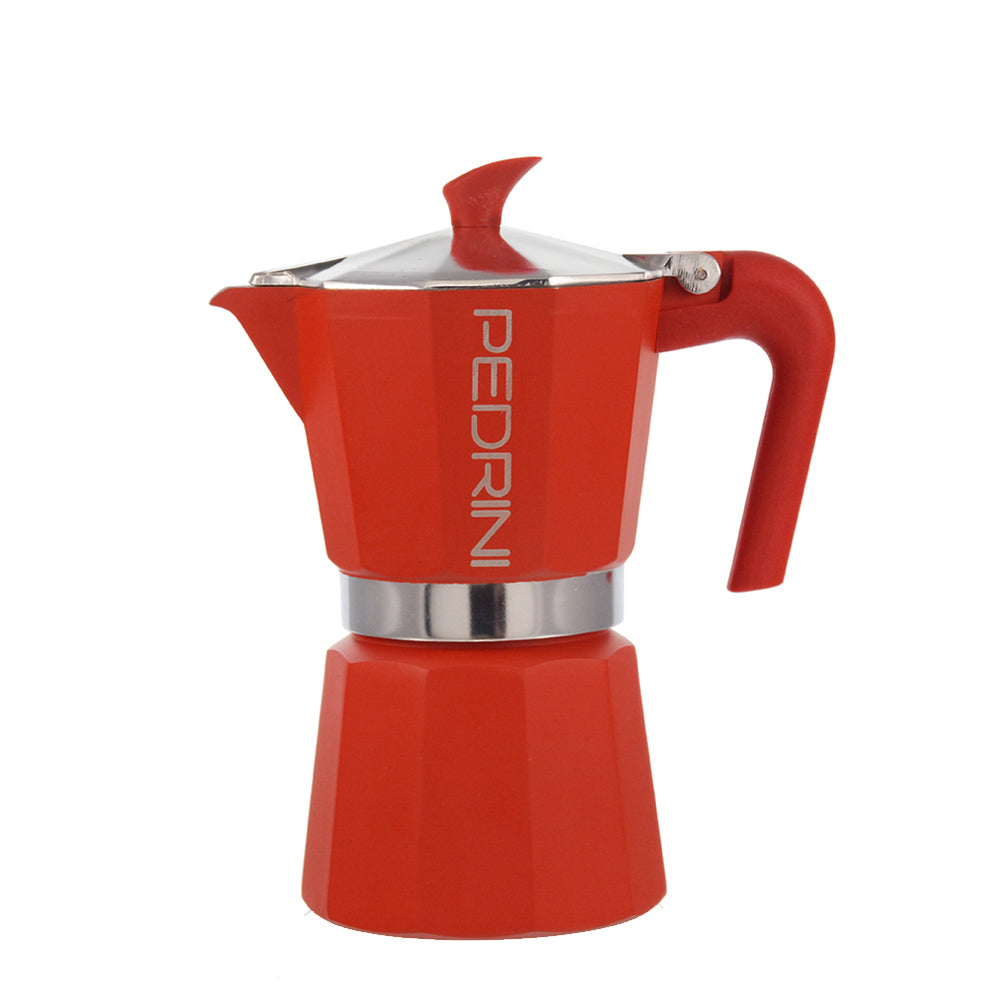 PEDRINI ITALY Stovetop Espresso Maker - red, avail. in 4 sizes, pack of 4