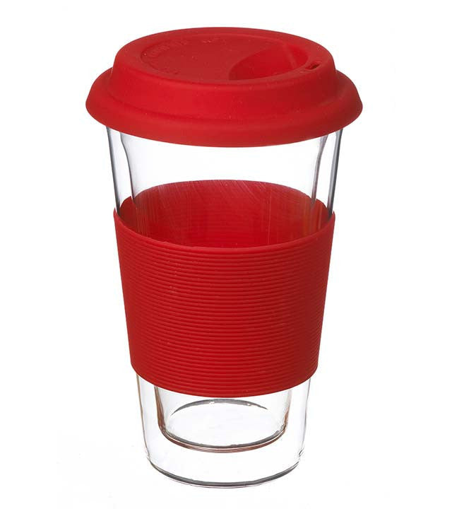 Glassware: GROSCHE Double Walled Glassen Travel Mug - Red, 350ml - Package of 4