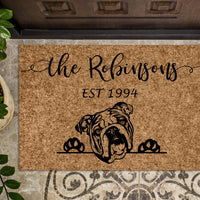 English Bulldog Personalized Custom Doormat