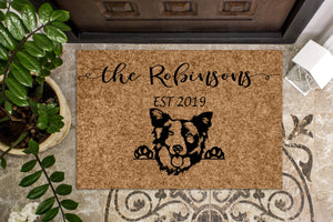 Border Collie Personalized Custom Doormat