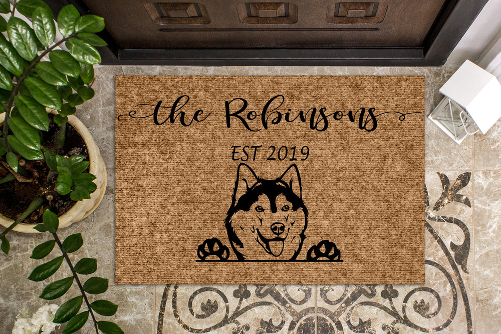 Siberian Husky Dog Puppy Personalized Doormat
