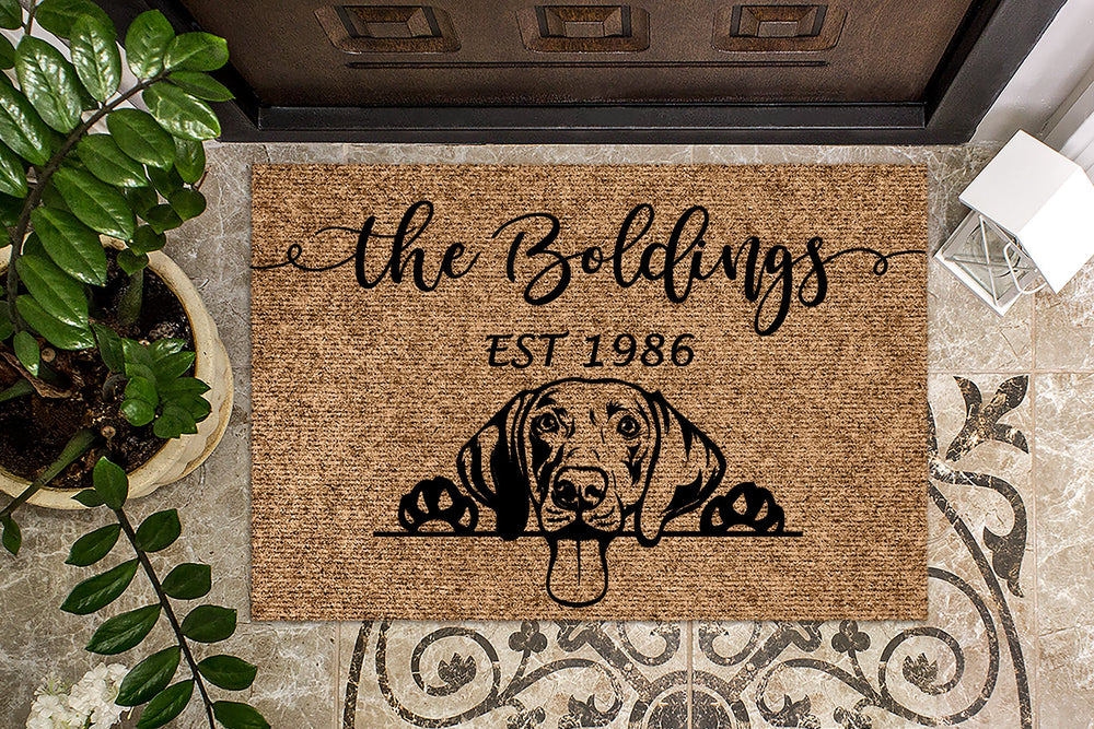 Weimaraner Dog Puppy Personalized Doormat
