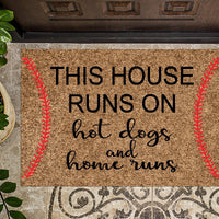 This House Runs on Hot Dogs and Home Runs Baseball Doormat