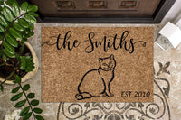 Russian Blue Cat  Personalized Doormat