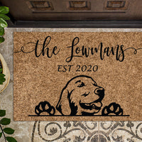 Golden Retriever v2 Personalized Custom Doormat