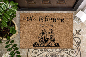 Long Haired Dachshund Personalized Doormat