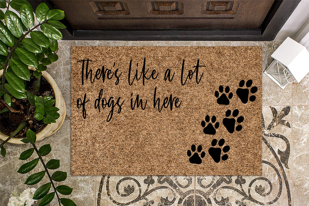 Just so you know there's like a lot of dogs in here! Funny Doormat