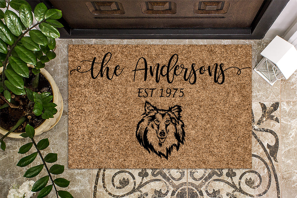 Rough Collie Dog Personalized Custom Doormat