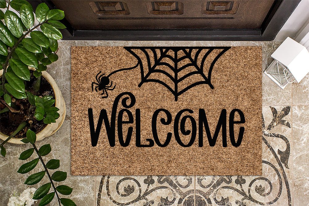 Welcome Spiderweb Halloween Door Mat