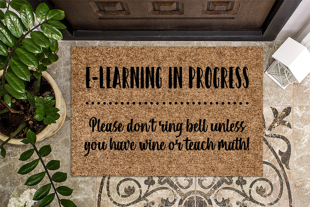 E-Learning In Progress Don't Ring Bell Doormat