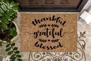 Thankful Grateful Blessed Fall Door Mat