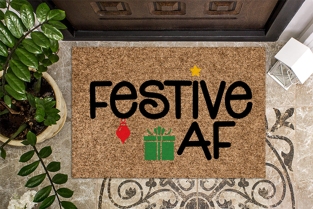 Festive AF Color Christmas Doormat