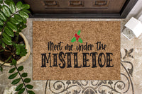 Meet Me Under the Mistletoe Colorful Christmas Doormat
