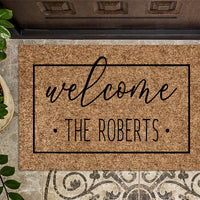 Family Name Dots Welcome DoorMat