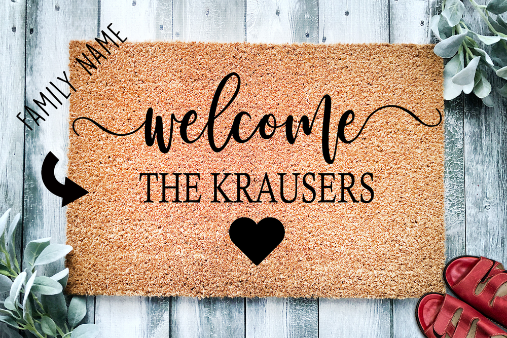 Welcome Last Name Heart Doormat