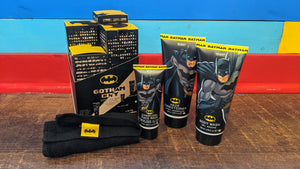 Batman Gotham City Bath Set.  Face wash, cloth, conditioner, body wash