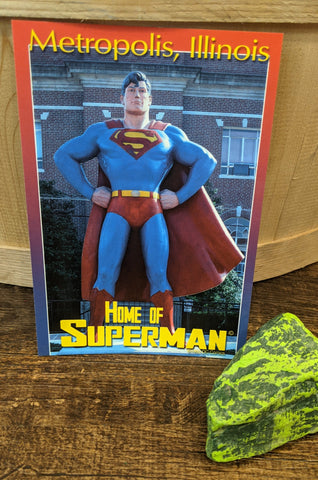 "Metropolis Illinois ""Home of Superman"" Statue Postcard"