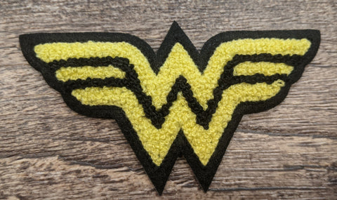 Wonder Woman Fuzzy Yellow Logo Patch