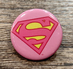 Supergirl Pink Shield 1 1-4 inch Button