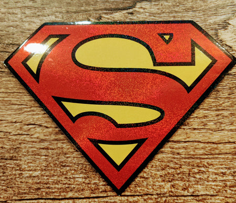 Superman Glitter Shield Sticker Decal