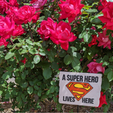 A Super Hero Lives Here Superman Yard Sign