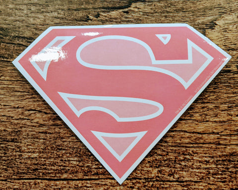Supergirl Pink and White Shield Sticker Decal