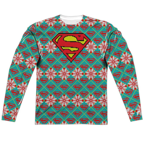 "SUPERMAN SHIELD HOLIDAY ""Ugly Christmas Sweater"" Style Long Sleeve Shirt"