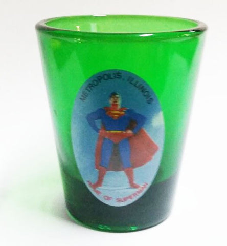 Metropolis Illinois Green Bust Shot Glass